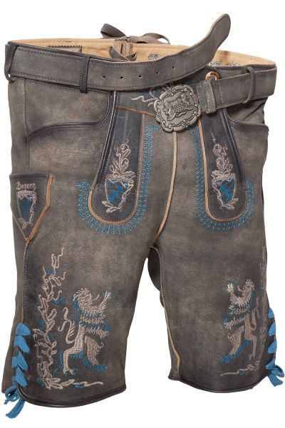 Kurze Lederhose Bayern Bua in grau mit blau