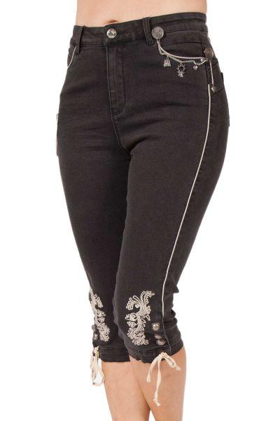 Damen Trachten Jeans schwarz kniebund