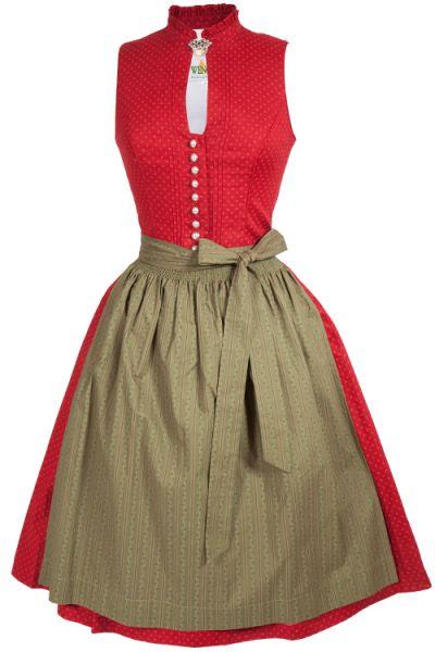 Midi Dirndl Oda hochgeschlossen aus Baumwolle in rot und grün