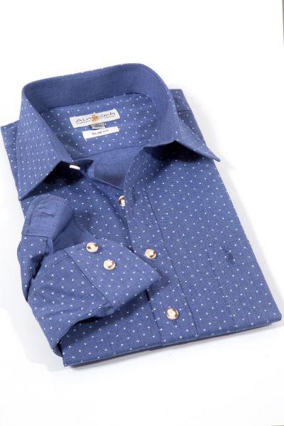 Trachtenhemd modern in dunkelblau mit weiß