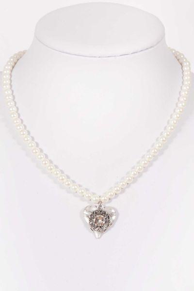 Trachtenkette Perlenkette weiß mit Herzanhänger