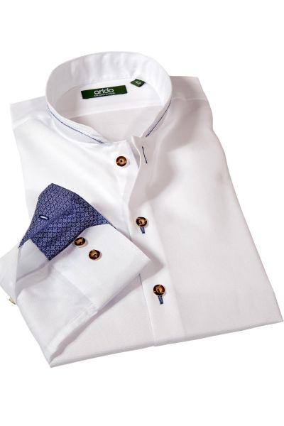 arido Trachtenhemd in weiß mit blau und Struktur
