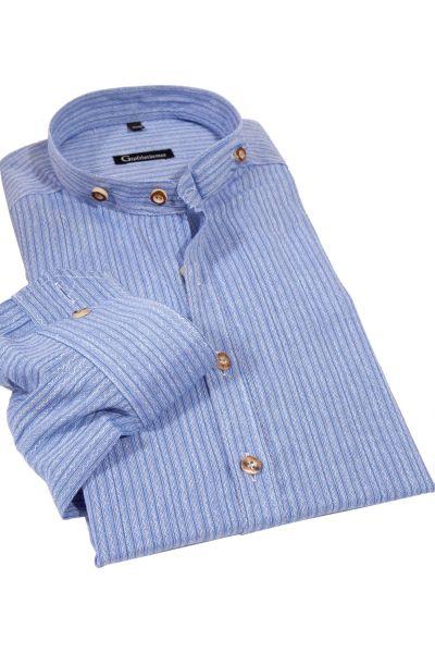 Herren Trachtenhemd blau mit Retro Streifen