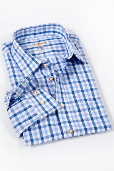 Trachtenhemd kariert in hellblau und dunkelblau