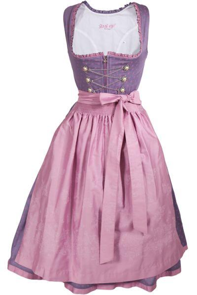 Midi Dirndl Tessa in lila / flieder mit rosa Details und Schnürung