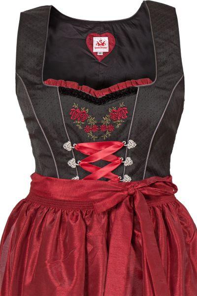 Midi Dirndl Curvy in schwarz mit rot Mieder