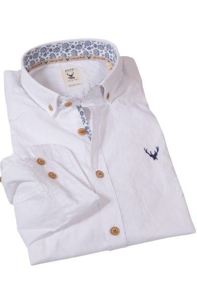 Trachtenhemd in weiß mit Muster und blauen Details
