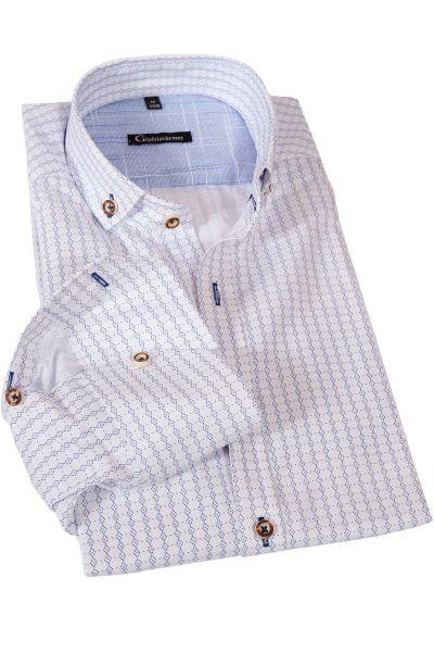 Trachtenhemd in weiß mit blauen Rautenmuster von Gipfelstürmer