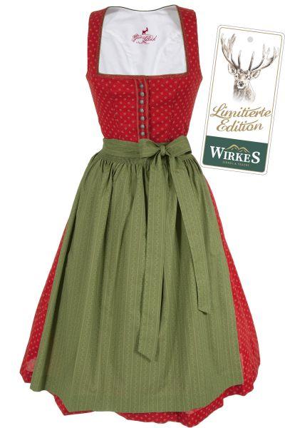 Midi Dirndl Bianca aus Baumwolle in rot und grün Limited Edition