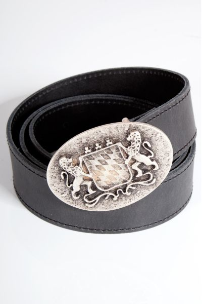 Herren Trachtengürtel in schwarz mit Silberschließe