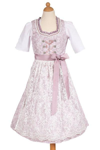 Kinderdirndl rosa flieder mit Spitzenschürze