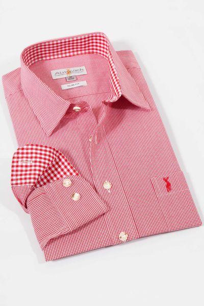 Slimfit Trachtenhemd in kleinen roten Karos