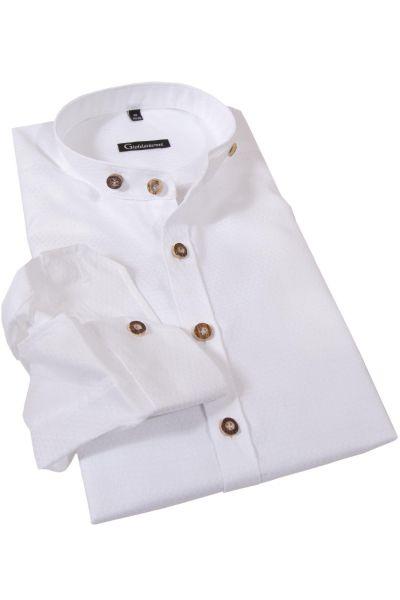 Herren Trachten Hemd in weiß mit Stehkragen