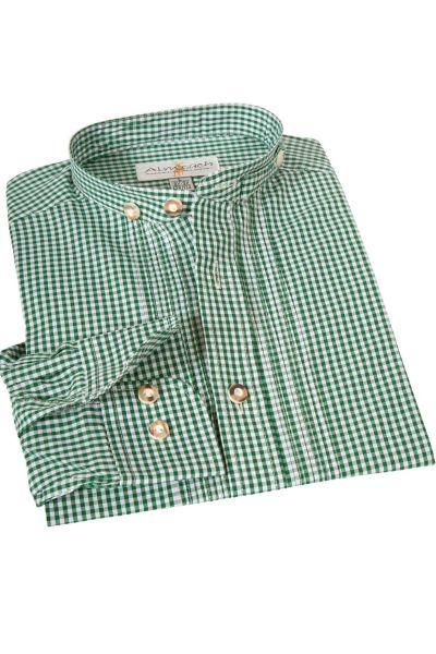 Kinder Trachtenhemd in grün kariert mit Stehkragen