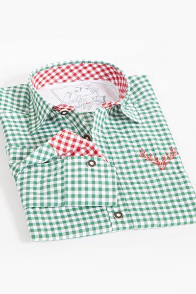 Trachtenhemd plattling grün weiß kariert 1