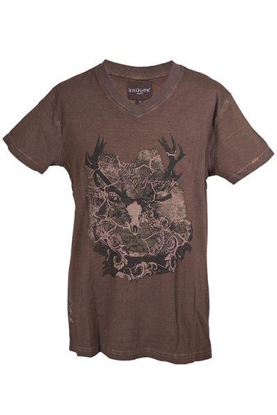 Trachten Shirt Herren in braun von Krüger vornTrachten Shirt Herren in braun von Krüger detail