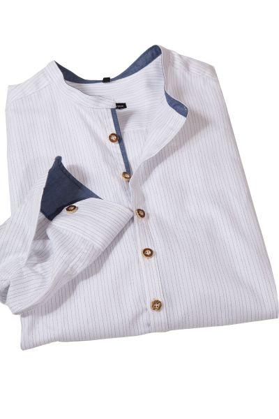 Trachtenhemd weiß mit Nadelstreifen in blau