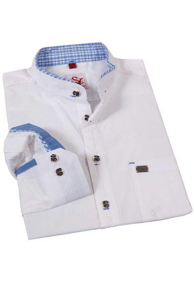 Trachtenhemd in weiß mit Stehkragen und blauen Details