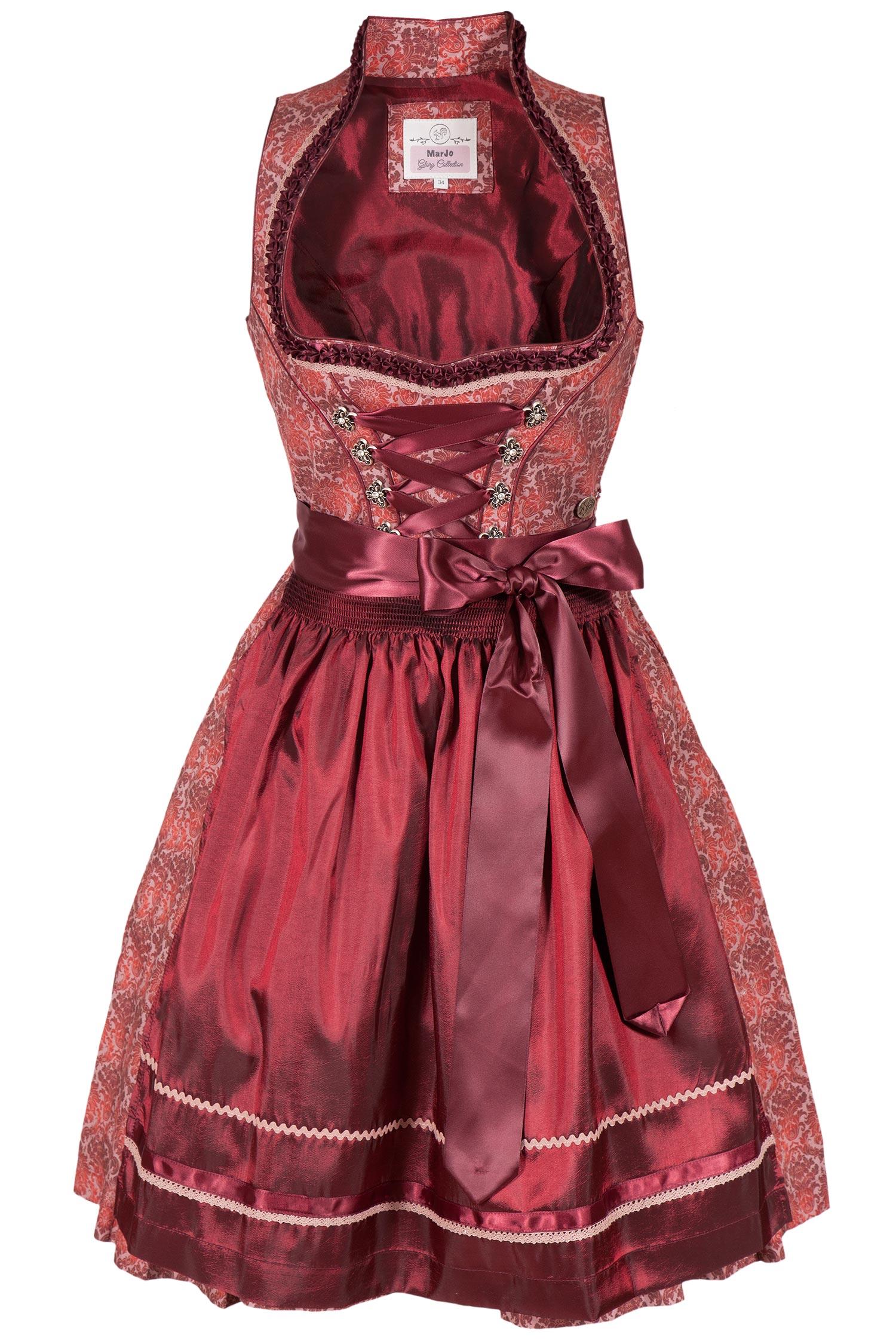 Marjo Damen Mini Dirndl Trachten Kleid kurz rosa 48cm Spitzenschürze silber edel