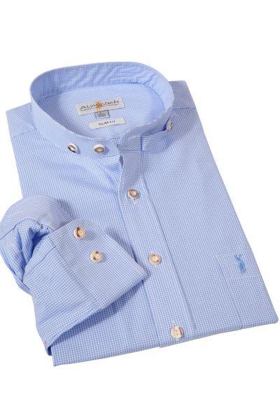 Trachtenhemd mit Stehkragen von Almsach in hellblau