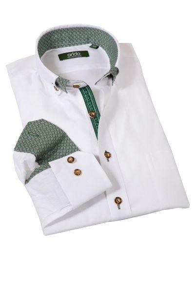 Trachtenhemd von arido in weiß mit tannengrünen Details