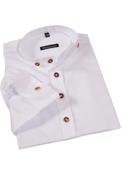 Kinder Trachtenhemd weiß Stehkragen Struktur