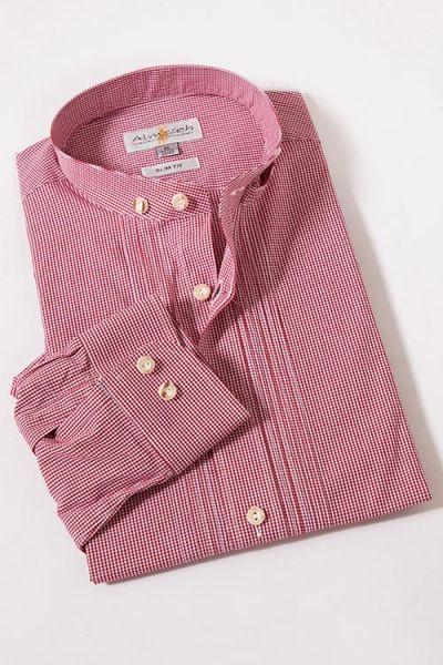 Trachtenhemd Vichykaro bordeaux mit Stehkragen von Almsach