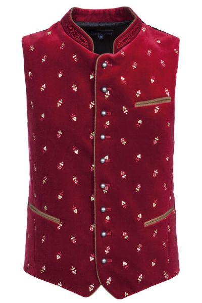 Trachten Weste in gedecktem rot mit Stickblumen 1