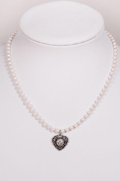 Dirndl Schmuck Trachtenkette Perlen in rosa mit Herz Anhänger silber