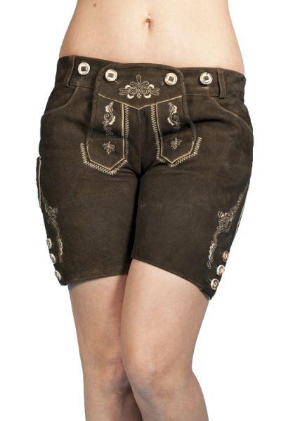 kurze Lederhose für damen in hazel ziegenleder 1