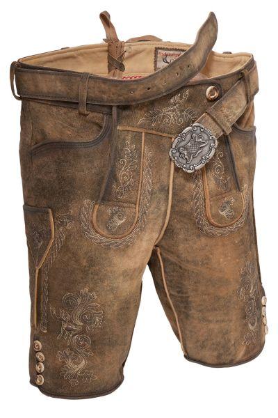 Lederhose kurz in korn gespeckt Wildbock Leder braun used
