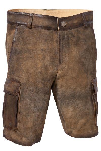 Kurze Lederhose Cargo in ziller mit Seitentaschen