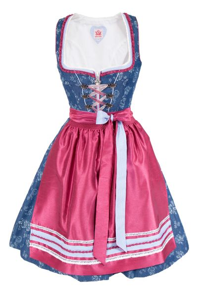 Mini Dirndl Hollywood in jeansblau und beere