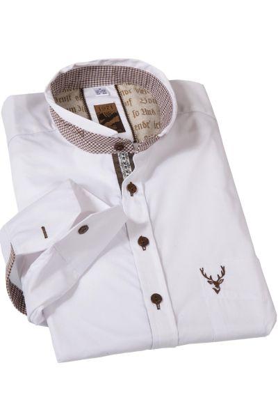 Trachtenhemd in weiß mit braun kariertem Stehkragen