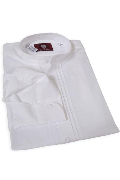 Trachtenhemd aus Baumwolle in weiß mit Stehkragen