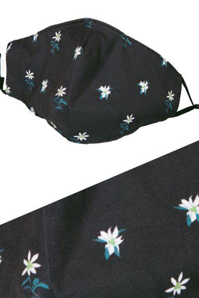 Trachten Mund Nasen Maske in schwarz mit Edelweiss