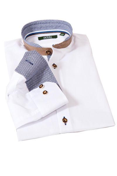 Trachtenhemd in weiß marine mit Velours Stehkragen