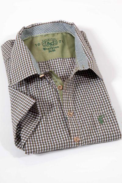 Trachtenhemd modern in oliv mit kurzen Armen