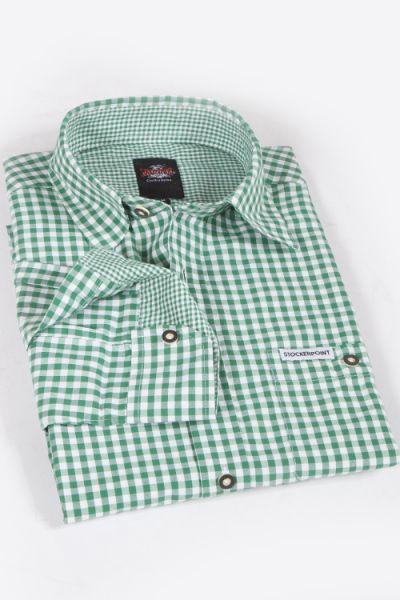 Trachtenhemd kariert in Karo grün und weiß günstig