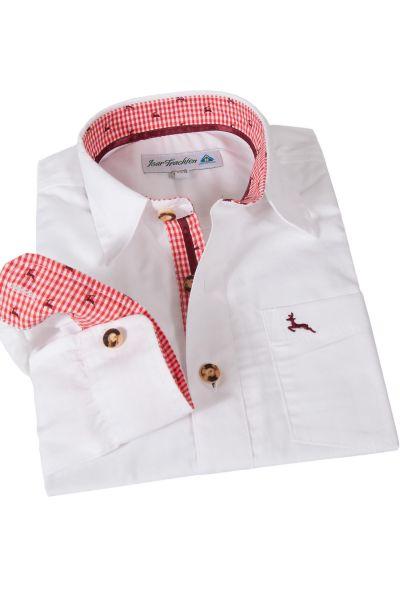 Kinder Trachtenhemd weiß mit roten Hirschen