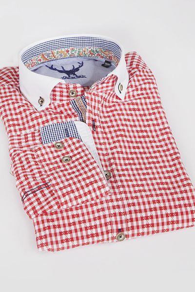 Trachten Hemd Herren pure elegant rot weiß 1