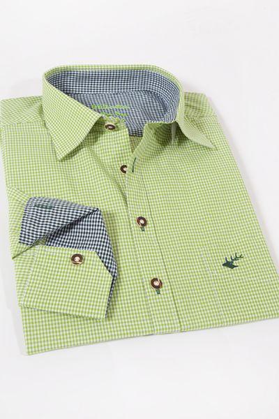 Trachtenhemd kleinkariert in hellgrün und weiß von OS Trachten