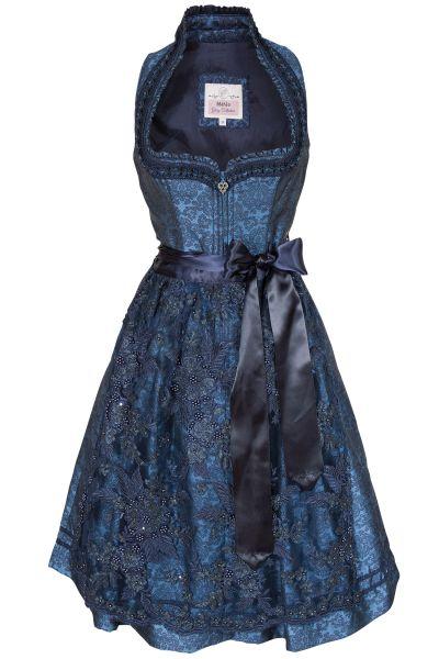 Midi Dirndl Urania in dunkelblau mit Glamour Schürze