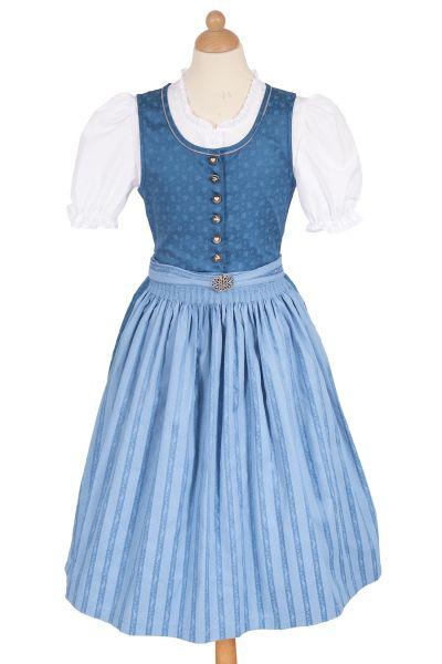 Kinderdirndl Andrea in blau aus Baumwolle