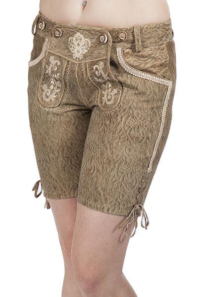 kurze Lederhose für Damen in hellbraun elegant Prägung Krüger