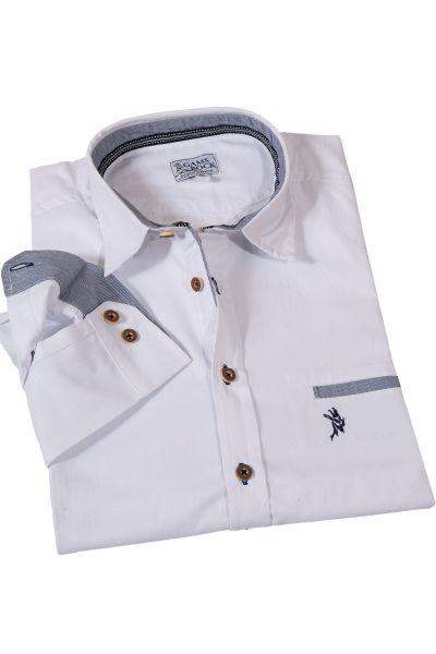 Trachtenhemd in weiß mit nachtblauen Details