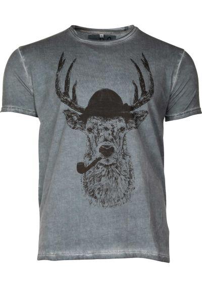 Herren Trachten T-Shirt mit Hirsch in dunkelblau