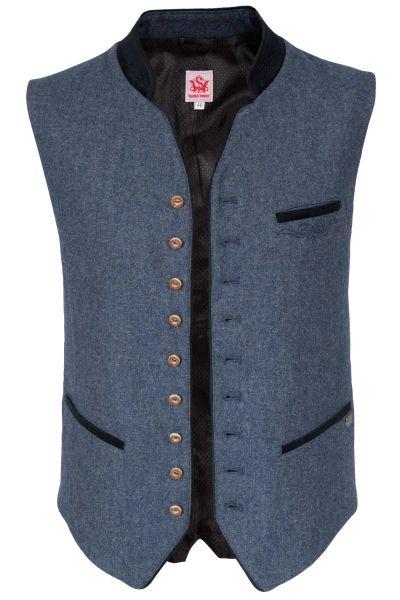 Trachtenweste Kiesel in jeansblau aus Loden