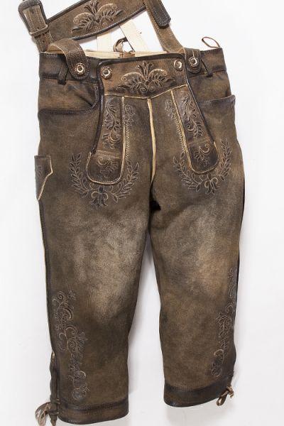 Lederhose Knielang in braun used mit Träger ziller antik vorn