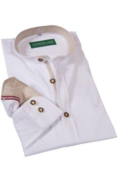 Trachtenhemd in weiß mit Leinen und Stehkragen